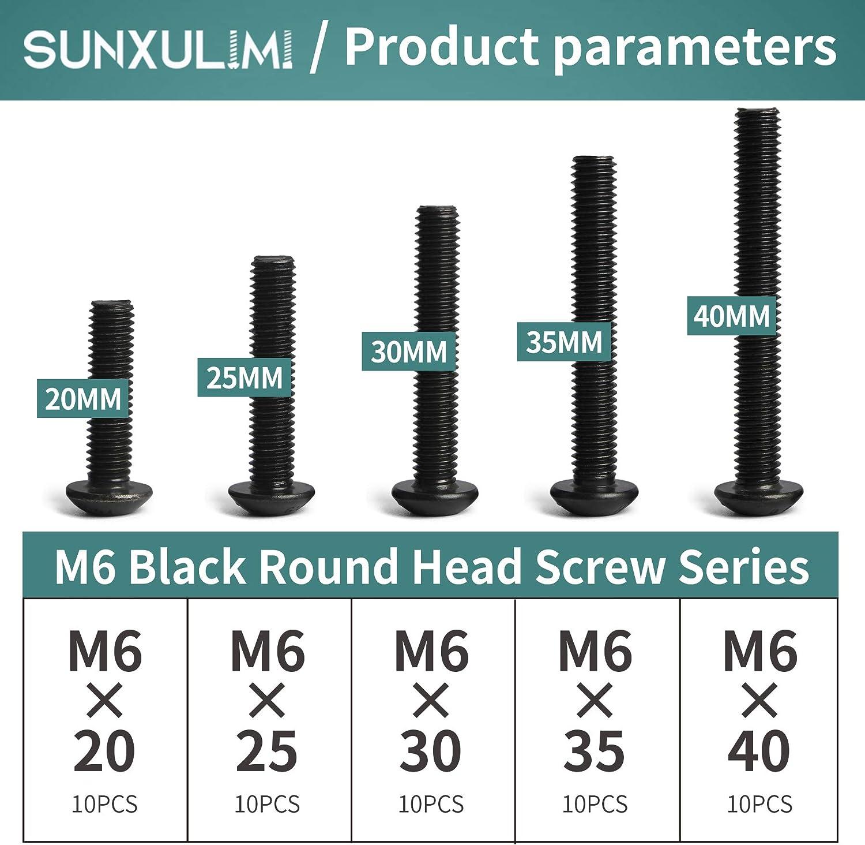 35mm 50pcs 30mm Black stainless steel hex socket head cap screws nuts assortment kit with box 25mm m6 x 20mm 30mm