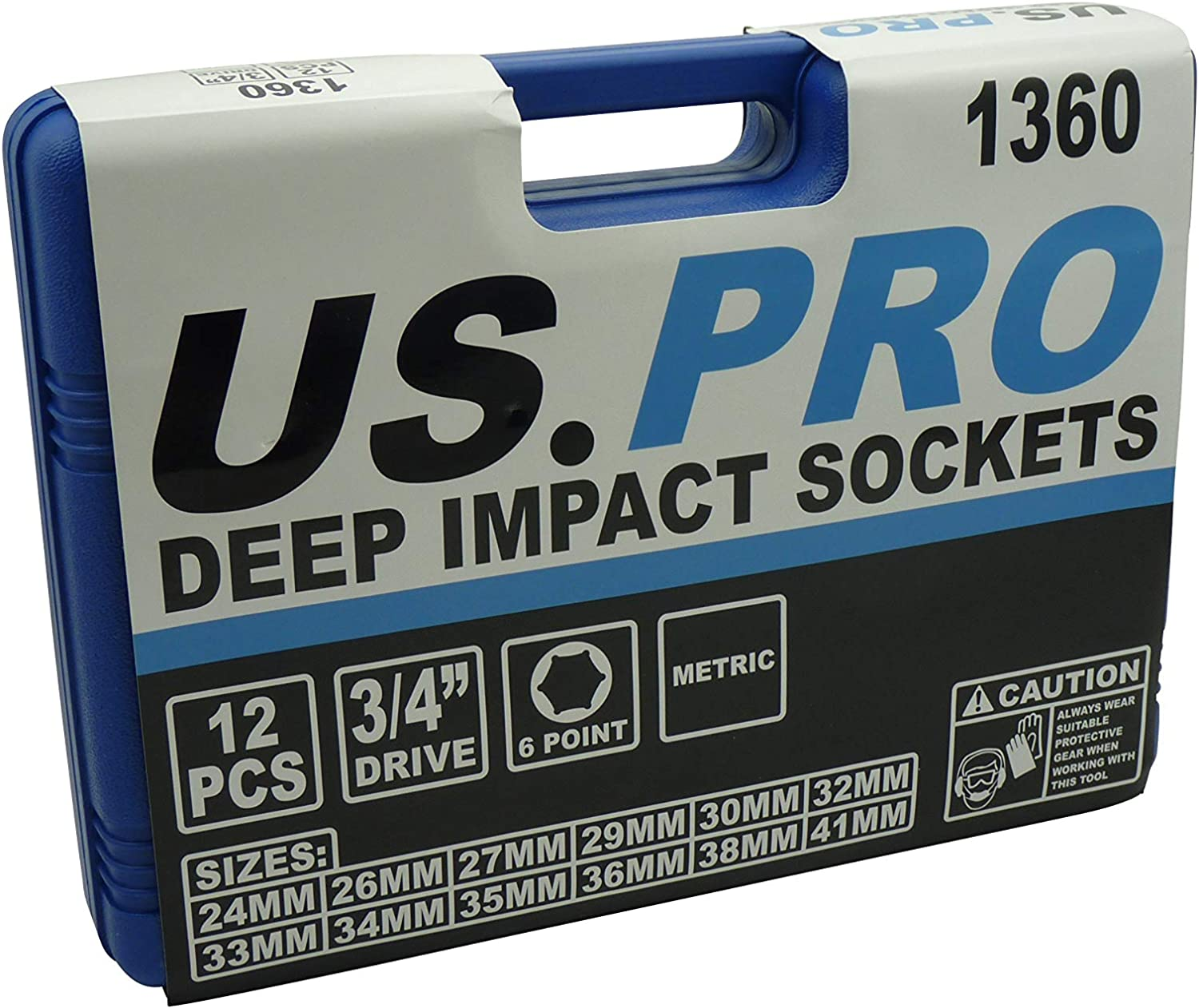 """41mm by US PRO 1360 12pc 3//4/"""" Dr Metric Cr-V Deep Impact Sockets 6 point 24mm"""