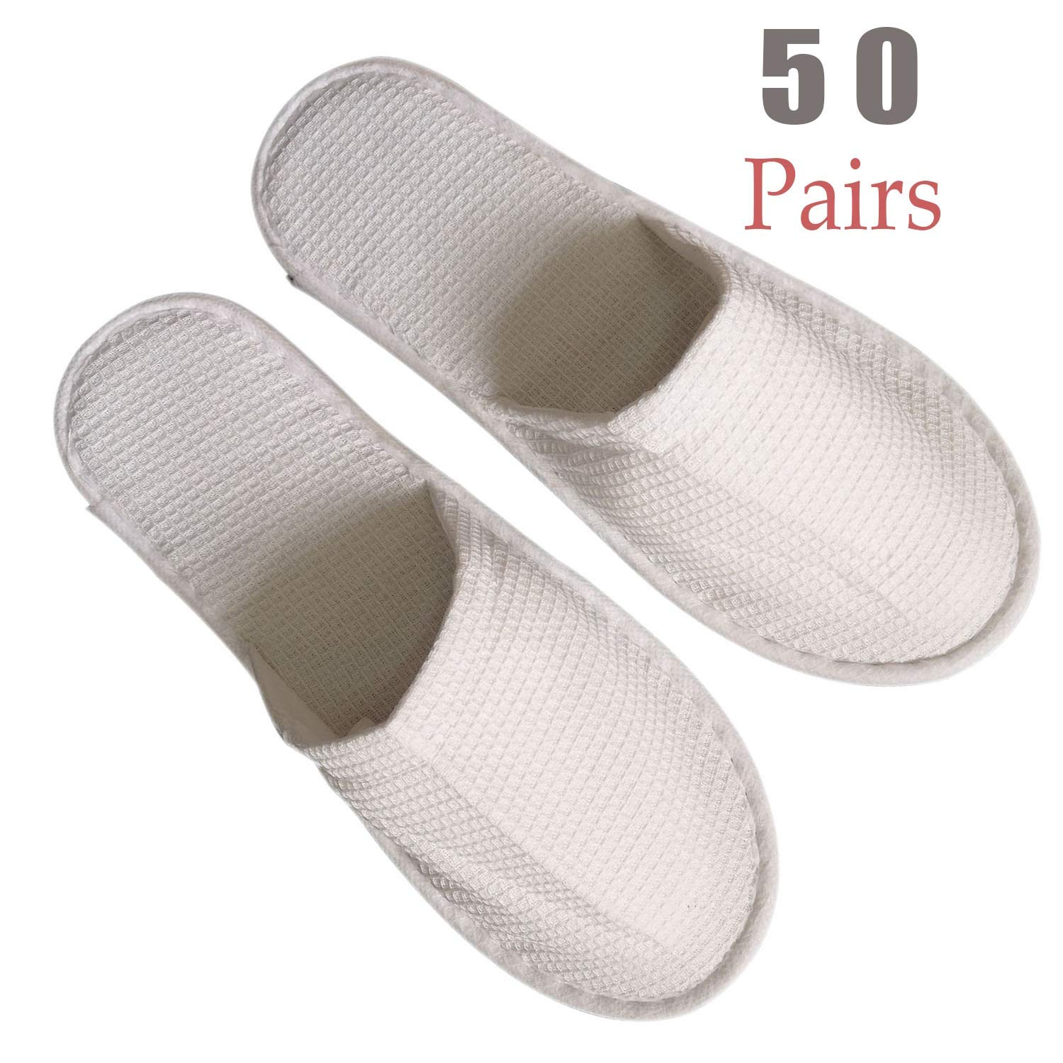 Waffle 50 Pairs Slippers Women and Men Disposable Portable Slippers, Women Slipper Hotel Disposable Spa Slippers Men Portable Comfortable Non-Slip Sole One Size Fit Most Men and Women Spa-