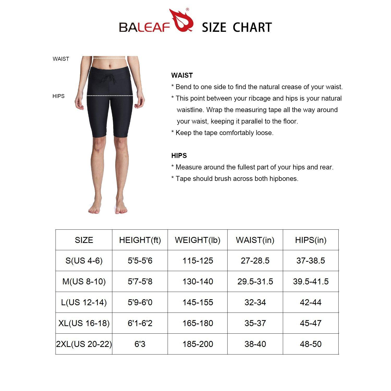 Baleaf Women's Long Board Shorts High Waisted Swim Shorts Sun Protection Bikini Bottom Black Size XL by Baleaf (Image #7)