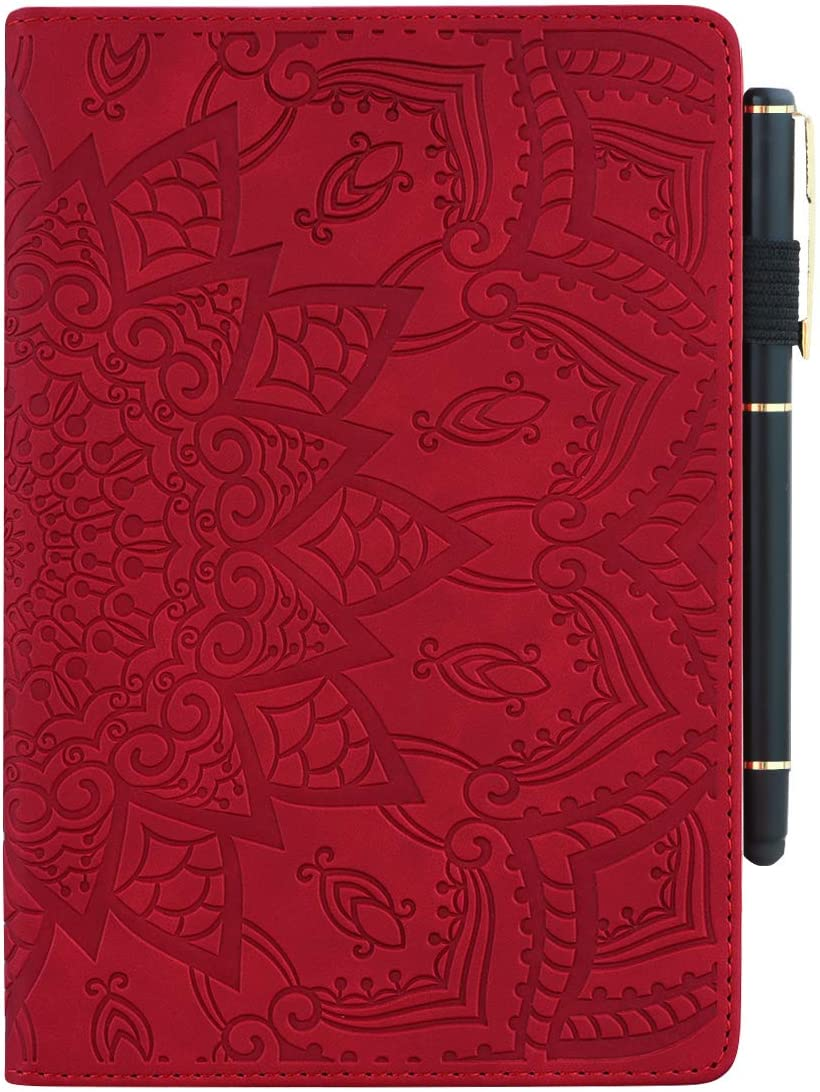 Pefcase iPad 9.7 inch 2018 2017 Case/iPad Air /iPad Air 2 /ipad 9.7 Pro 2016 Cover, Premium PU Leather Folio Stand Wallet Case for Apple iPad 9.7 Mandala Flower - RED
