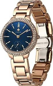 Relojes de oro rosa para mujer, elegante vestido de cristal blanco/azul esfera analógica, correa de acero inoxidable, resistente al agua 30 m