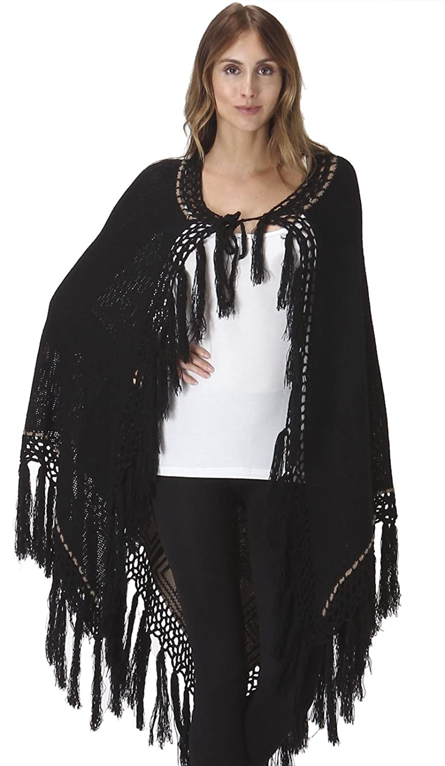Aris Bohemian Thick Warm Crochet Knit Fringe Poncho Scarf Cardigan Cape Wrap Sweater