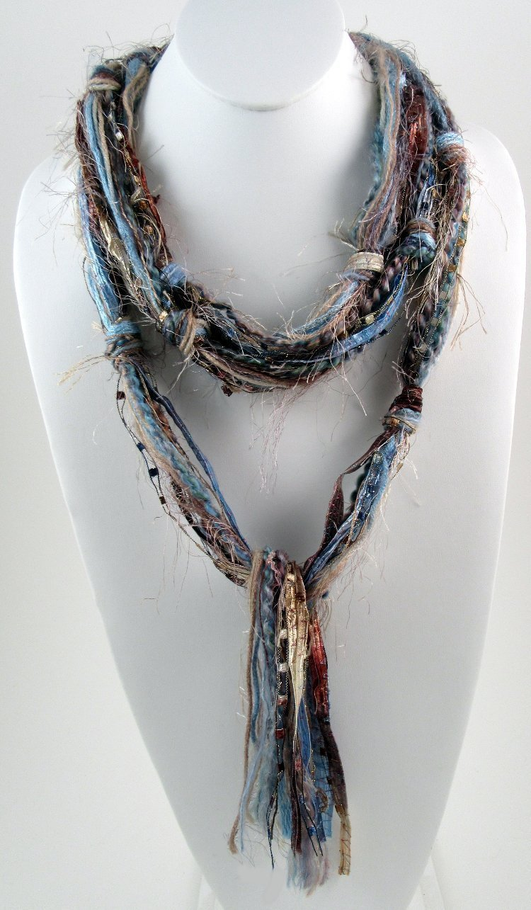 Light Brown and Blue Scarf, Skinny Scarves, Hippie Clothes, Scarves for Women, Fringe Scarves, Skinny Boho, Boho Clothing, Bohemian Scarf, Boho Scarf