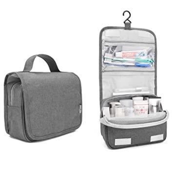 1ba384f1d5 Buy tecmac Portable Travel Cosmetic - Makeup Bag   Hanging Toiletry Wash Bag    Large   Unisex (Grey) Online at Low Prices in India - Amazon.in