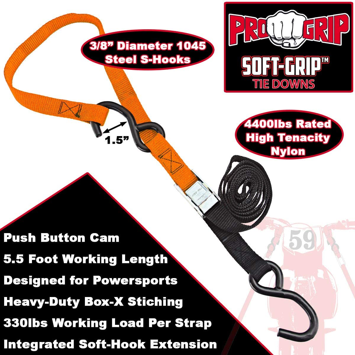 2 Pack Progrip Powersports Motorcycle Soft Loop Tie Down Straps Lab Tested Grn