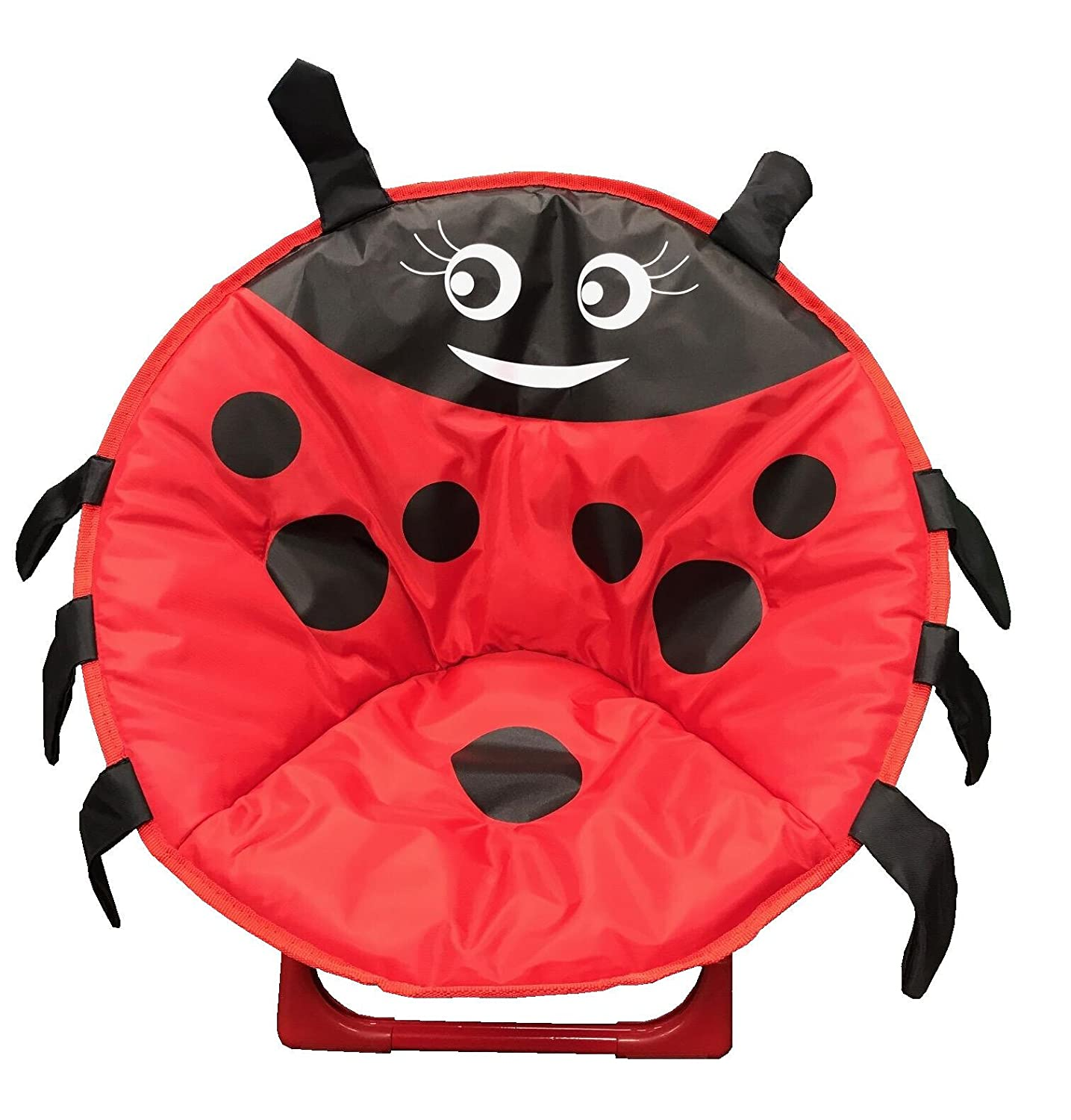 just4baby Kids Children Foldable Bedroom Play Room Moon Chair Moonchair Red Ladybird Design