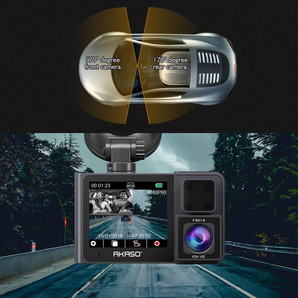 AKASO C/ámara de Coche Dash CAM 1080P FHD 170/° Gran /Ángulo 3.0 Pantalla WDR C/ámara para Coche Retrovisor G-Sensor Grabaci/ón en Bucle Detecci/ón de Movimiento HDR Visi/ón Nocturna C200
