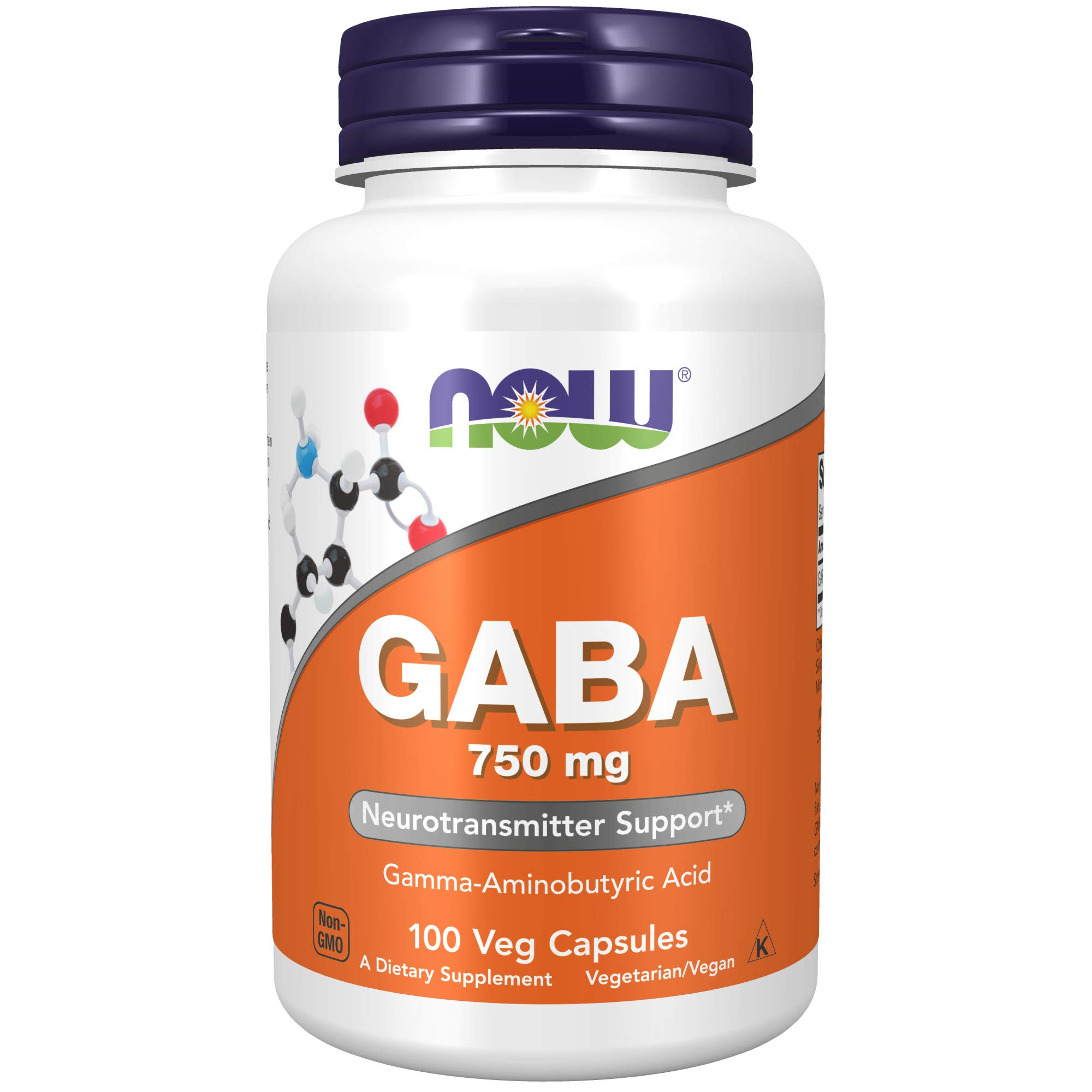 NOW Supplements GABA (Gamma-Aminobutyric Acid) 750 mg Neurotransmitter Support , 100 Veg Capsules
