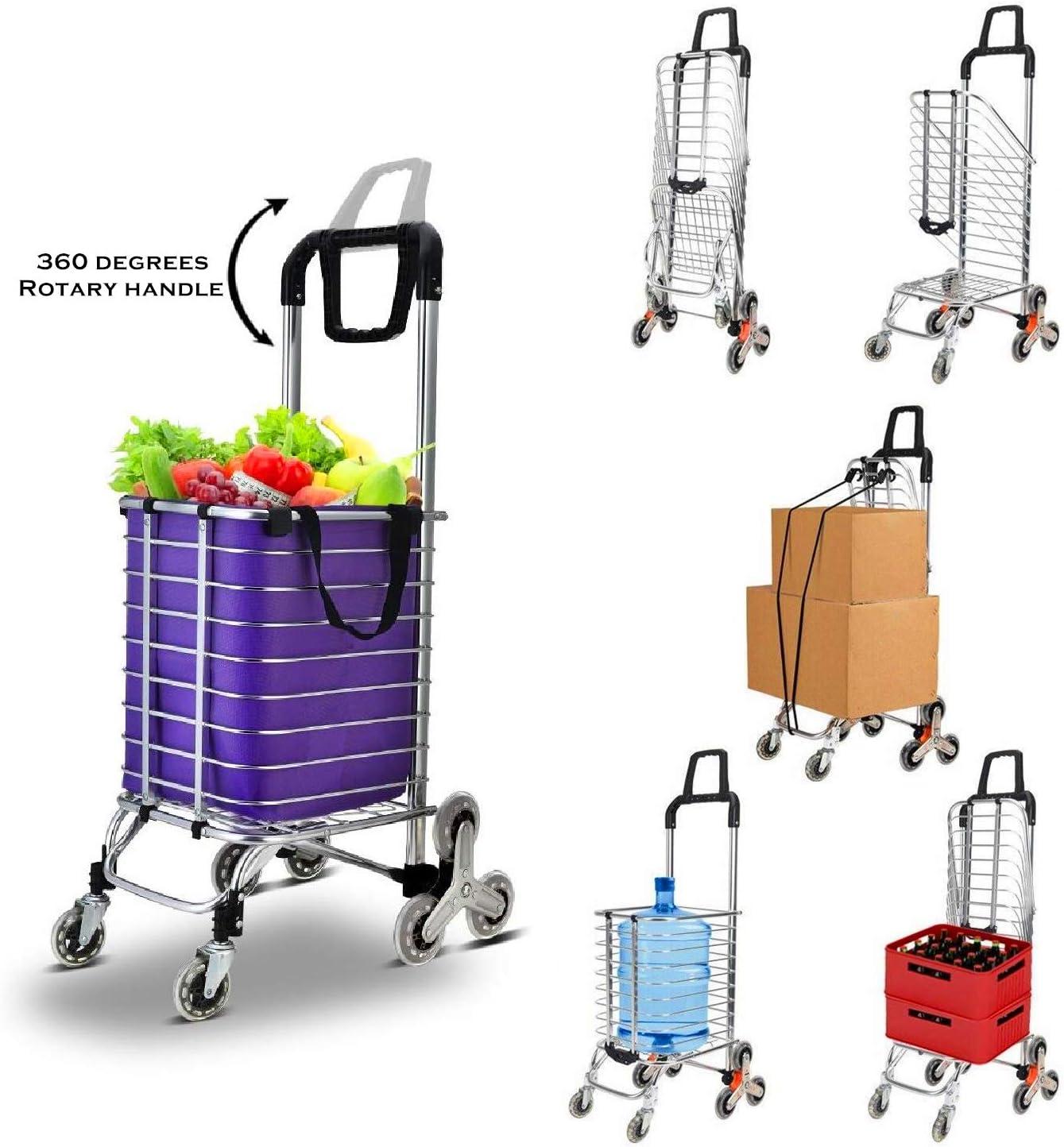 FLM Carrito de Aluminio Plegable Resistente - Carrito de la Compra Plegable para Subir Escaleras con 8 Ruedas con Bolsa Desmontable,Capacidad de Carga de 80 kg