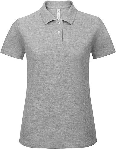 B&C Womens/Ladies ID.001 Plain Short Sleeve Polo Shirt (S) (Heather Grey)