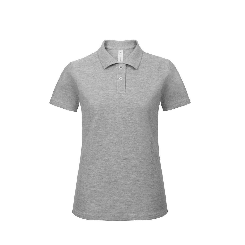 B&C Womens/Ladies ID.001 Plain Short Sleeve Polo Shirt (XL) (Heather Grey)