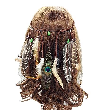 Klassische Festival Feder Stirnband Hippie Kopfschmuck Haarschmuck Boho