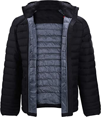 Down Alternative Jacket for Women Quilted Lightweight Packable Padding Coat with Detachable Hood