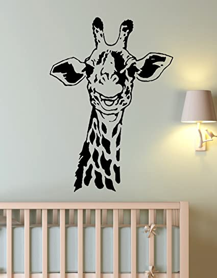 Stickerbrand African Safari Giraffe Wall Decal Sticker By Black Color 30in  X 21in. Easy To