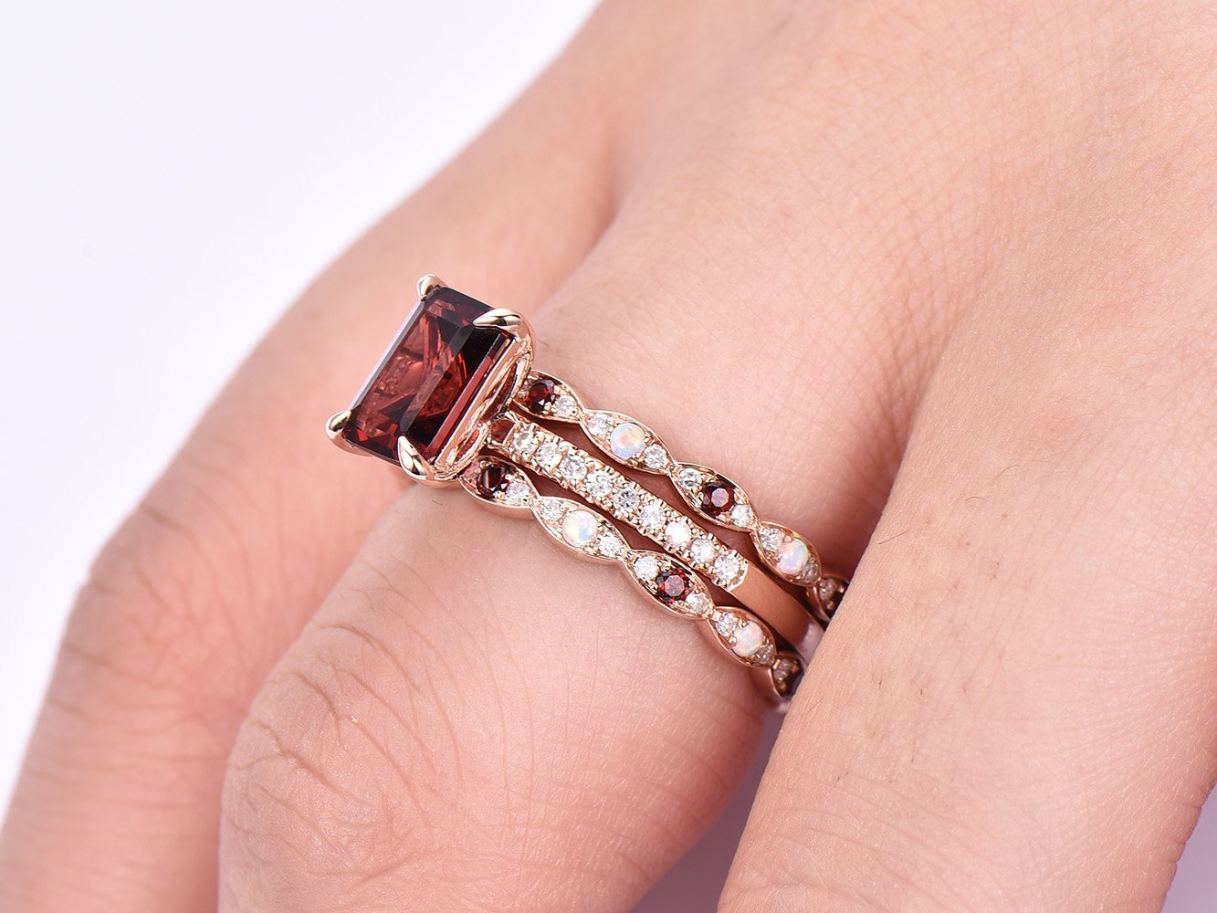 Amazon.com: Emerald Cut Garnet Ring Trio Set Opal/Garnet Matching ...