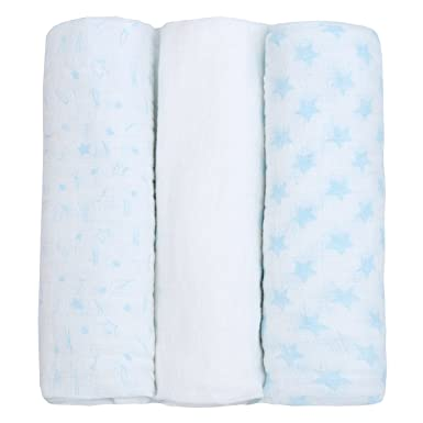 Newborn Baby Muslin Cloth Squares 3 Pack 76x76cm 100 Cotton