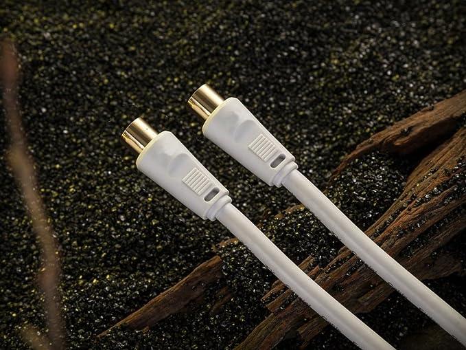 REALMAX - Cable coaxial para antena coaxial (chapado en oro) 10 Metros blanco: Amazon.es: Electrónica