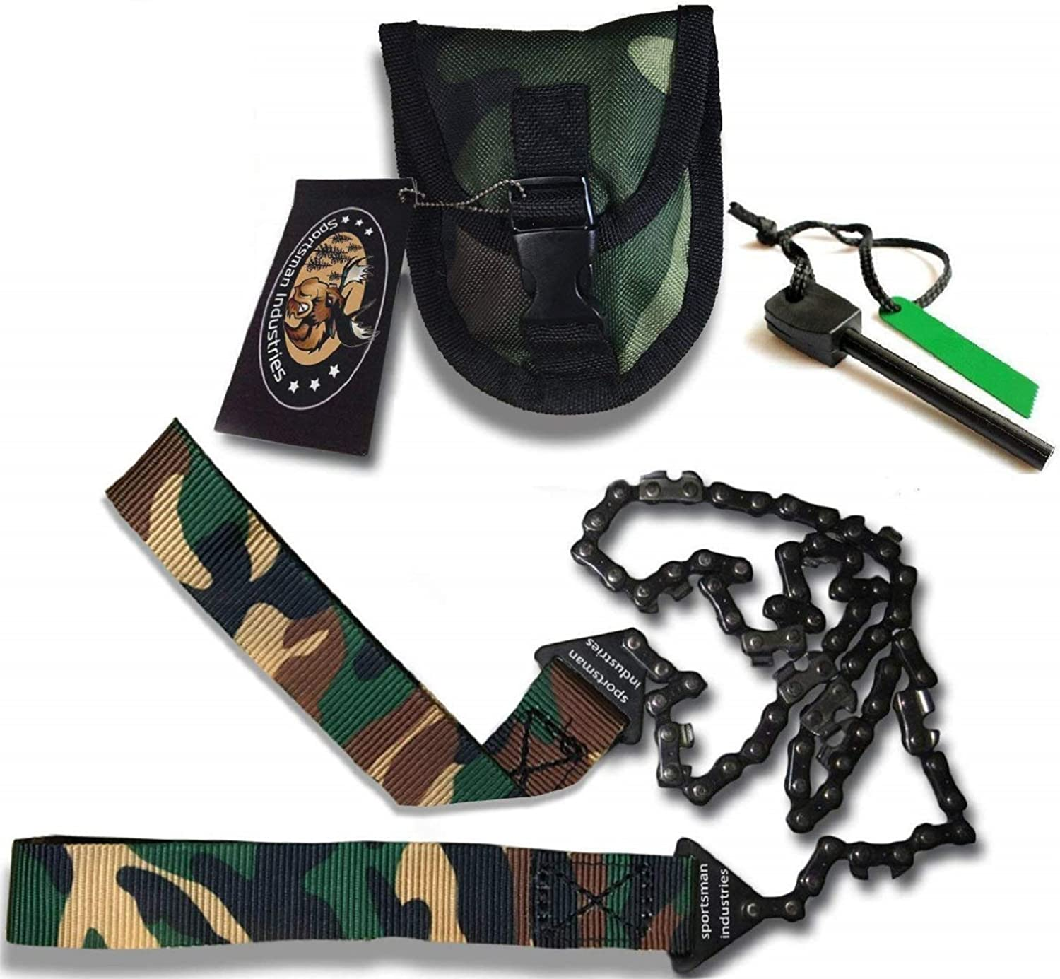 Sportsman Camouflage Pocket Chainsaw 36 Inches Long Chain – Free Fire Starter. Best Folding Hand Saw Tool for Survival, Camping, Hunting, Tree Cutting or Emergency Kit. Replaces a Pruner Pole Saw