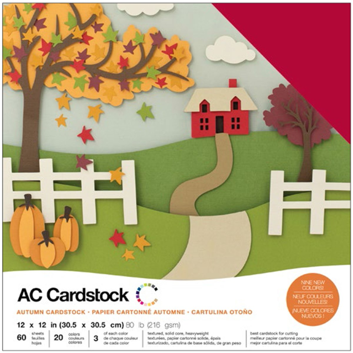 American Crafts Variety Pack Autumn 60 Sheets of 12 x 12 Inch Cardstock, Assorted by American Crafts