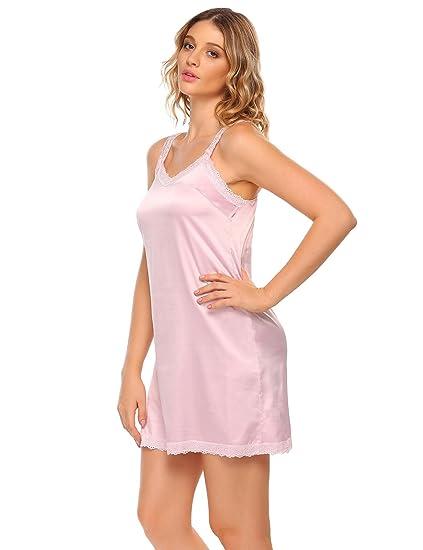 905e0238ea Langle Women Strap V-Neck Satin Nightgown A-line Sleeping Dress Mini  Nightwear S-XXL at Amazon Women's Clothing store: