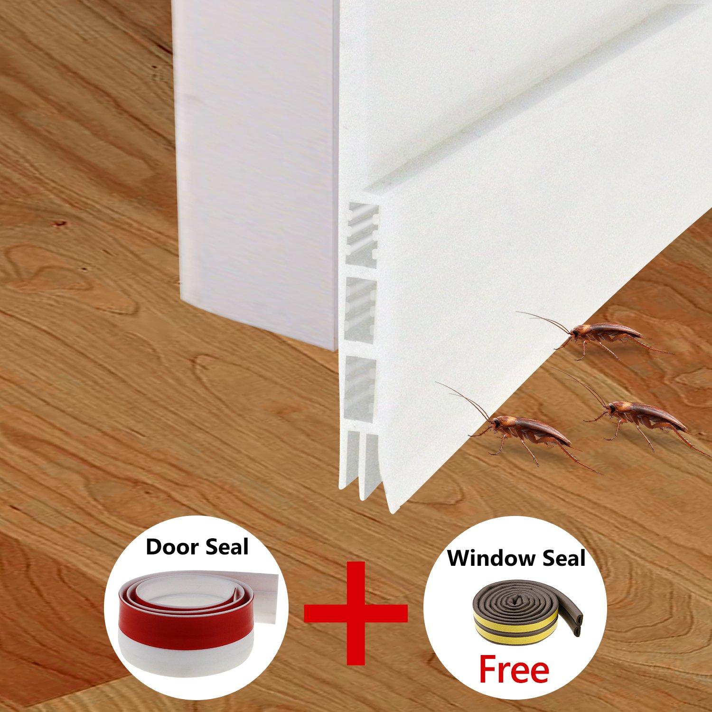 Fixget Door Seal, Under Door Sweep Door Draft Stopper Weather Stripping Door Bottom Seal Rubber Weatherproof Seal + Window Seal for Cracks & Gaps, 2 Width X 35.8 Length inch, 2 Seals