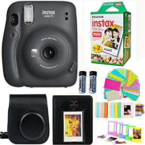 Fujifilm Instax Mini 11 Charcoal Grey Camera with Fuji Instant Film Twin Pack (20 Pictures) + Case Witch Strap, Album, Stickers, and More Accessories Bundle