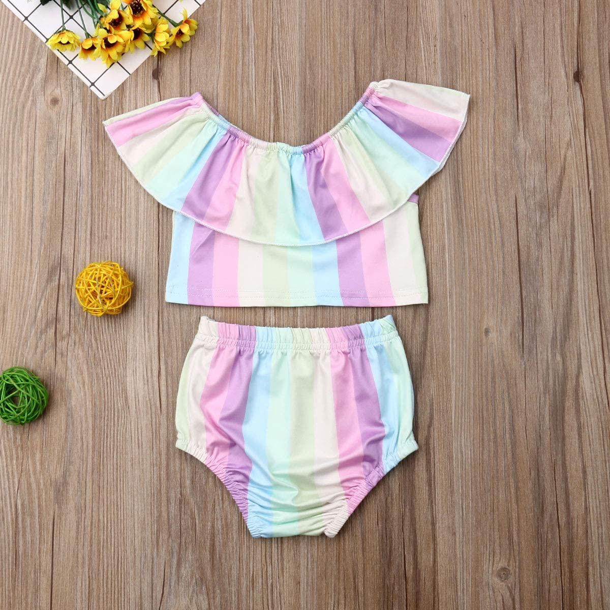 2Pcs Newborn Baby Girl Summer Clothes Set Sleeveless Tube Tops+Floral Shorts Pants Outfit