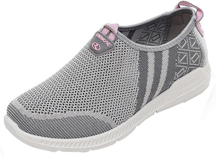 GongzhuMM Baskets Femmes Sneakers sans Lacets Chaussures de Sport Antidérapant pour Dames Chaussures de Course NoirGrisRouge 36 39 EU