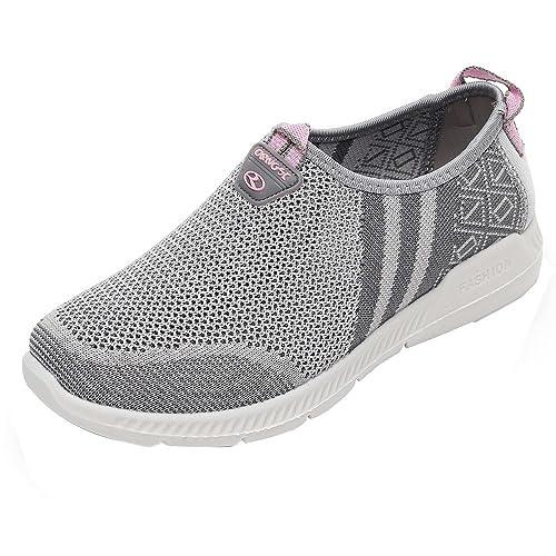 footwear official site clearance sale GongzhuMM Baskets Femmes Sneakers sans Lacets Chaussures de Sport  Antidérapant pour Dames Chaussures de Course Noir/Gris/Rouge 36-39 EU