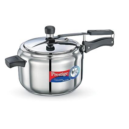 Prestige Nakshatra Alpha Stainless Steel Pressure Cooker, 5 Litres,Silver