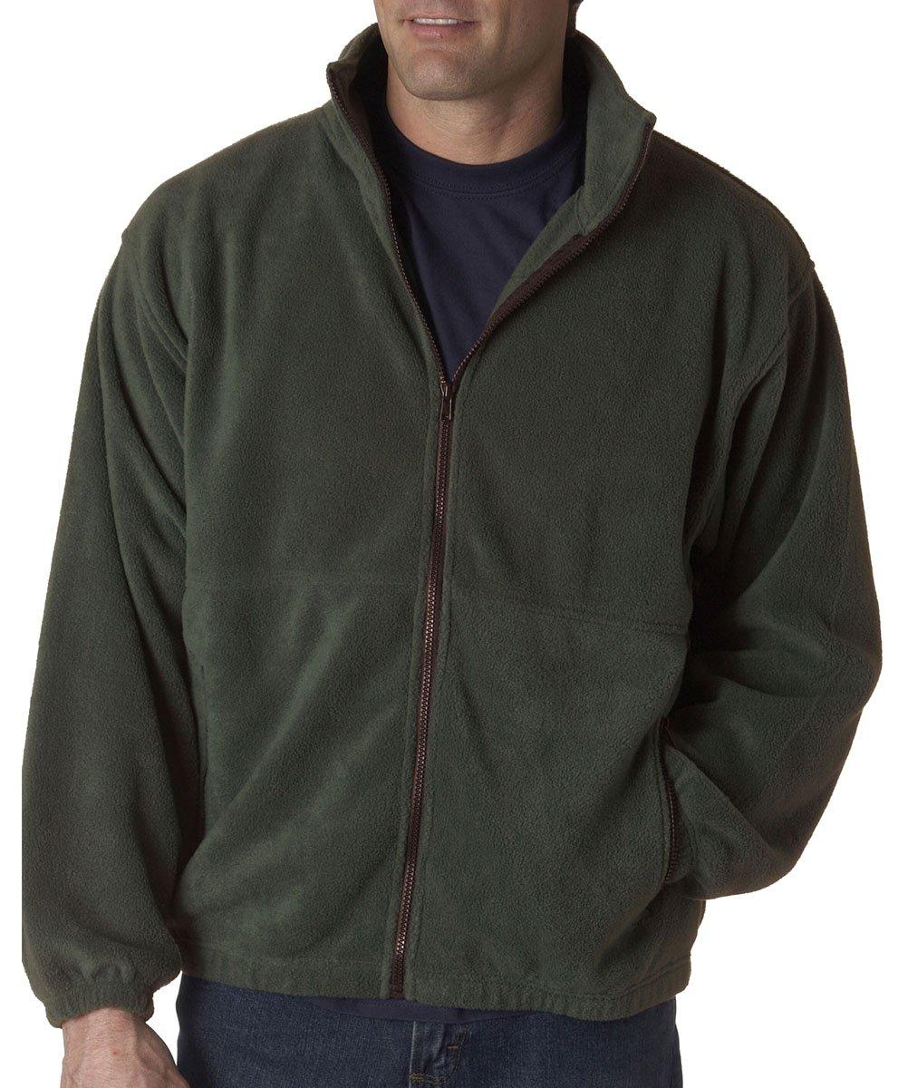 UltraClub Men's Iceberg Fleece Full-Zip Jacket (Forest Green) (Small)