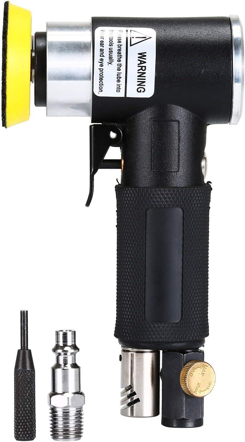 ENJOHOS Mini lijadora de aire excéntrica Herramienta de pulido de aire con ángulo de presión orbital rotativa con tampón de lijado pequeña de 15000 rpm Lijadora neumática (platorello da 2 pollici)