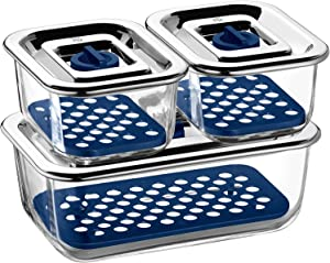 WMF Top Serve 0654249999 Storage and Serving Containers with Drainage Grille Set of 3 by WMF