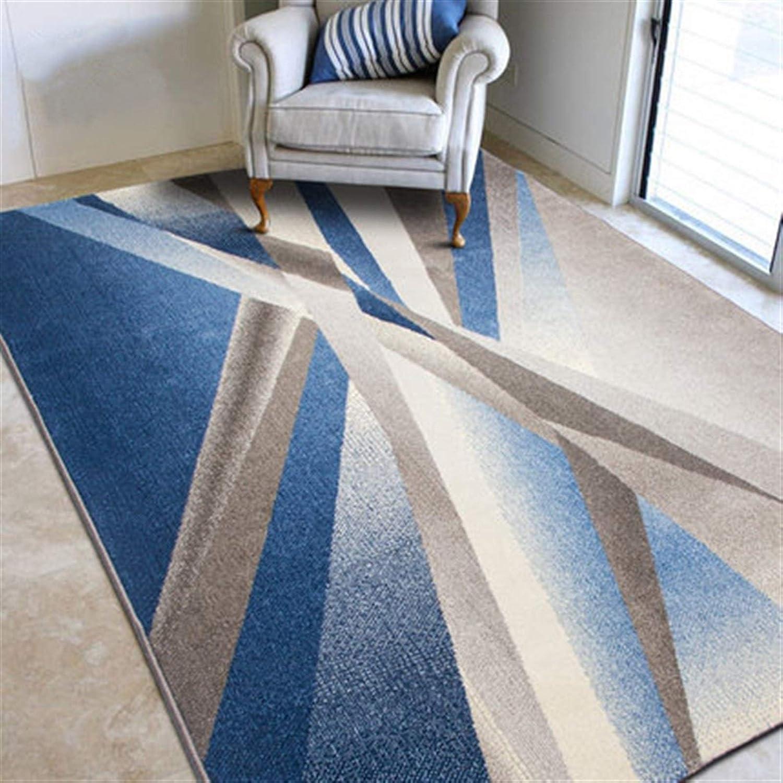 Alfombra Moderna Abstracta geométrica Salón Área Dormitorio Alfombras Antideslizante Alfombra Grande (Color : Geometric Blue, Talla : 200 * 290cm)
