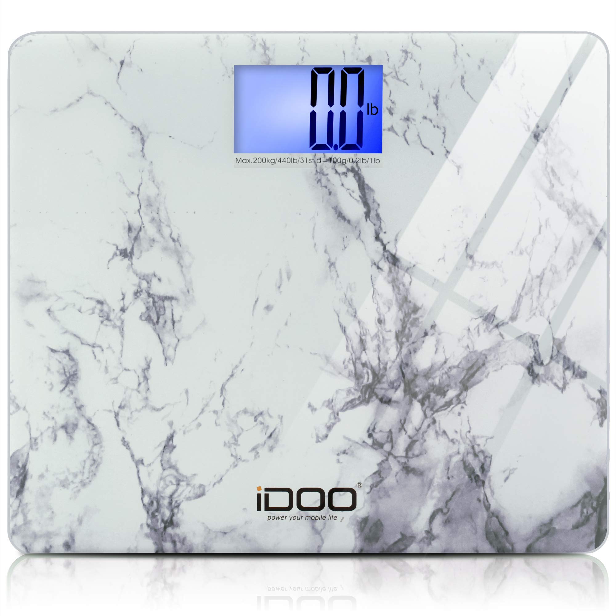 iDOO High Precision Digital Bathroom Weight Scale 440 Pound Capacity, Ultra Wide Heavy-duty Platform with Elegant Marble Design by iDOO