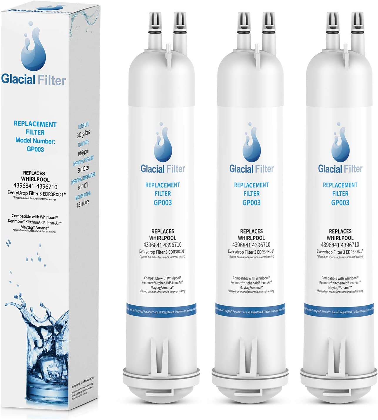 Glacial Filter 4396841 EDR3RXD1 Water Filter Replacement, Compatible with 4396710 Refrigerator Cap Water Filter 3 Kenmore 9083, 9030 Water Filter - 3pack