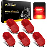 Partsam (5) 12V Oval Oblong Red Side Marker Clearance Lamp w/ White Base Replacement Light, 4x2 Reflectorized Trailer Led Clearance and side marker lights, Sealed led lights w/ reflex lens