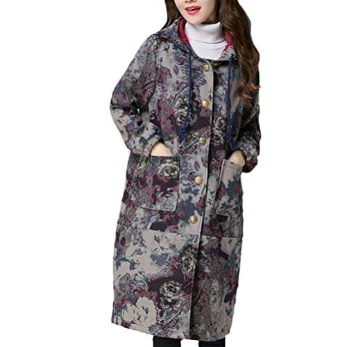 Zhhlaixing Abrigos de Mujer Invierno Large Size National Style Women Retro Cotton and Linen Thick Co...