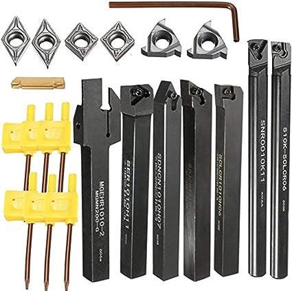 7Pcs 10mm Shank Lathe Turning Tool Holder Boring Bar With Carbide Inserts UK
