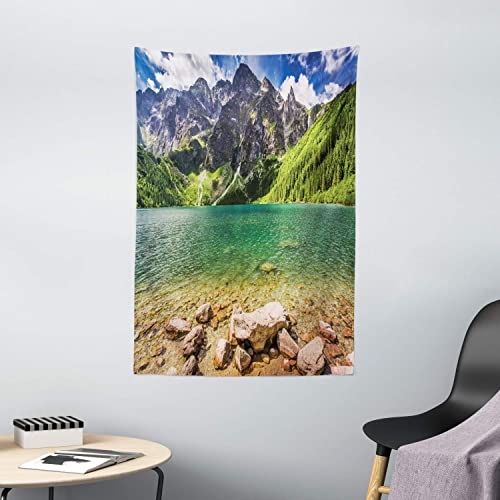 Ambesonne Mountain Tapestry, Lake Tatra and Mountains Poland Forest at Sunrise Rocky Shore, Wall Hanging for Bedroom Living Room Dorm Decor, 40 X 60 , Brown Turquoise