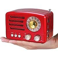 PRUNUS Radio Transistor FM Am SW SD USB MP3 Bluetooth de Formato de Madera Retro-Clásico, con Altavoz, función AUX, Sintonizador Circular de 270º y indicador de sintonía(Rojo)