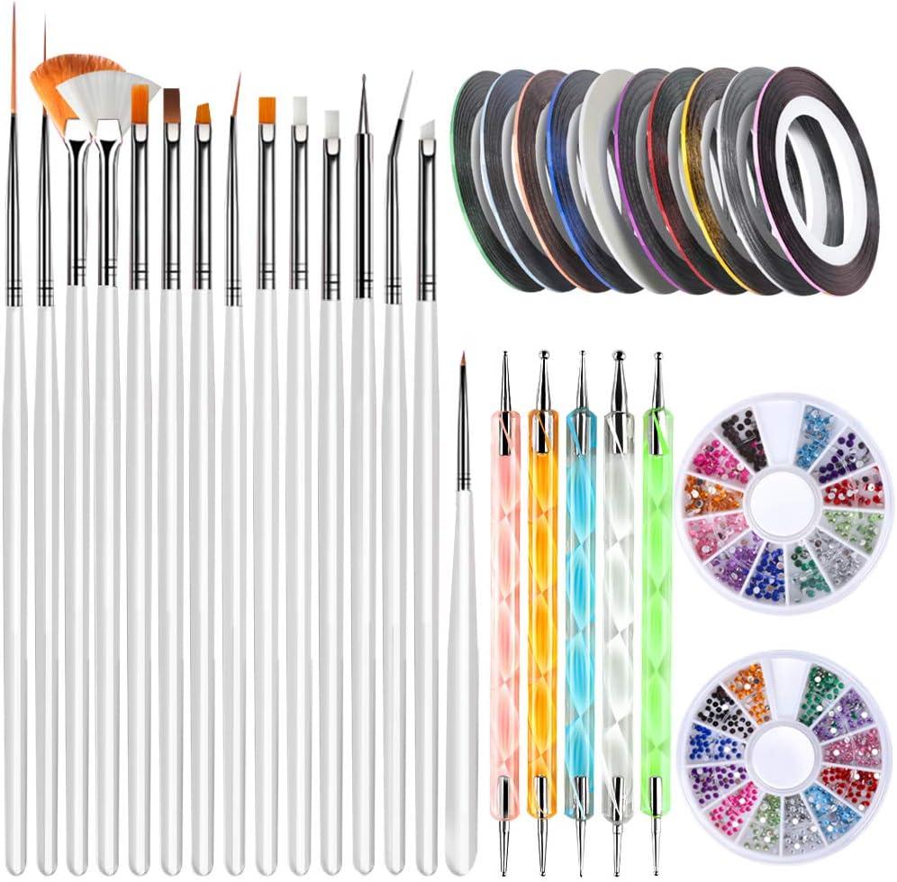 Nail Art Brushes, Teenitor 3D Nail Art Paiting Polish Design Kit with 15 Nail Gel Brushes, Nail Dotting Pen 5pcs, 12 Colors Nail Rinestones & 10 Adhesive Nail Striping Tape for False Acrylic Nails: Arts, Crafts & Sewing