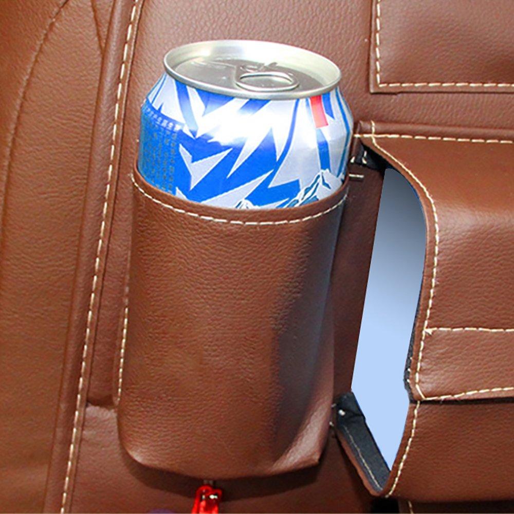 Pevor Car PU Leather Seat Back Organizer Storage Backseat Multi-Pocket iPad Phone Holder (Brown)