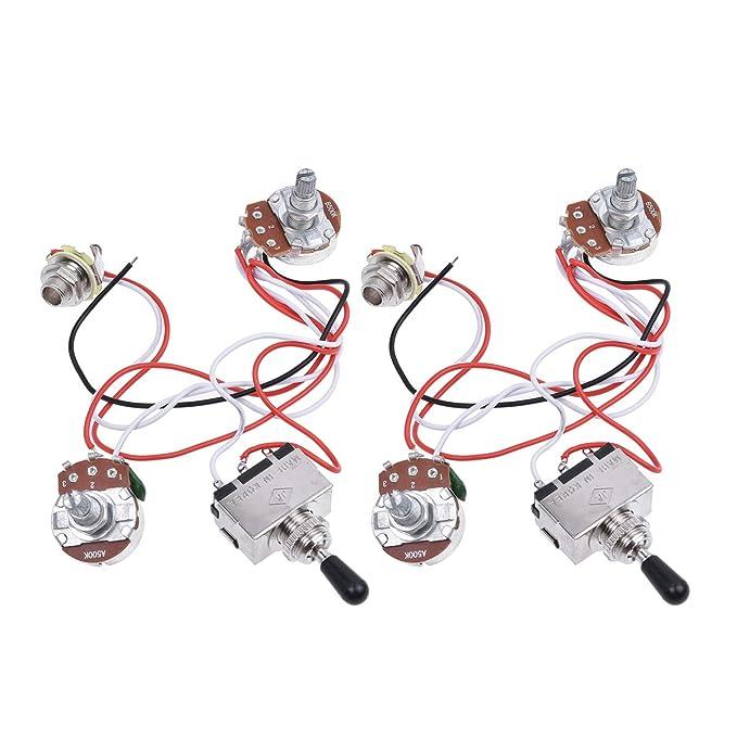 Kmise guitarra eléctrica juego de cables Kit 3 way Toggle Interruptor 1 V1T 500 K macetas para LP Les Paul partes 2 juegos: Amazon.es: Instrumentos ...