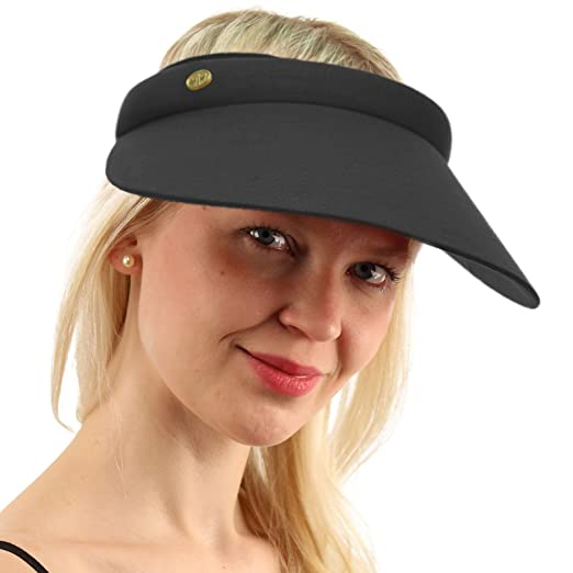 UPF UV Sun Protection Wide 100% Cotton Brim Clip Visor Beach Golf Cap Hat  Black e1323589a78