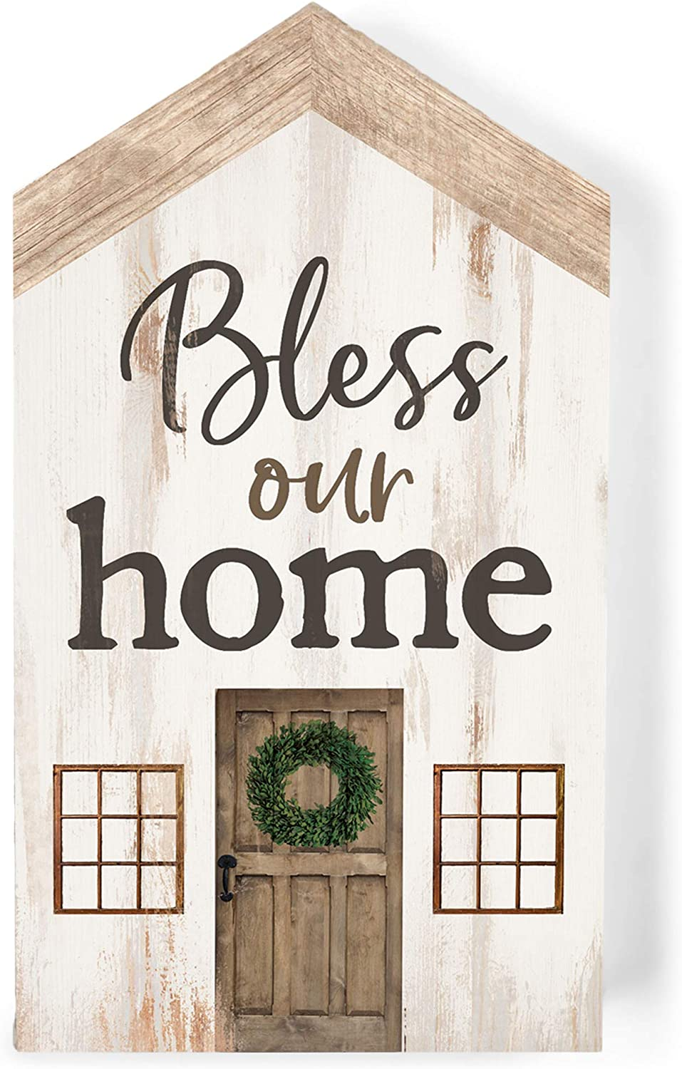 P. Graham Dunn Bless Our Home Whitewash Barn House Shaped 3.5 x 6 Inch Pine Wood Block Tabletop Sign