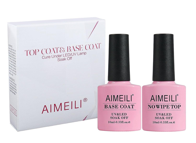 Amazon.com : AIMEILI Gel Nail Polish No Wipe Top and Base Coat Set ...