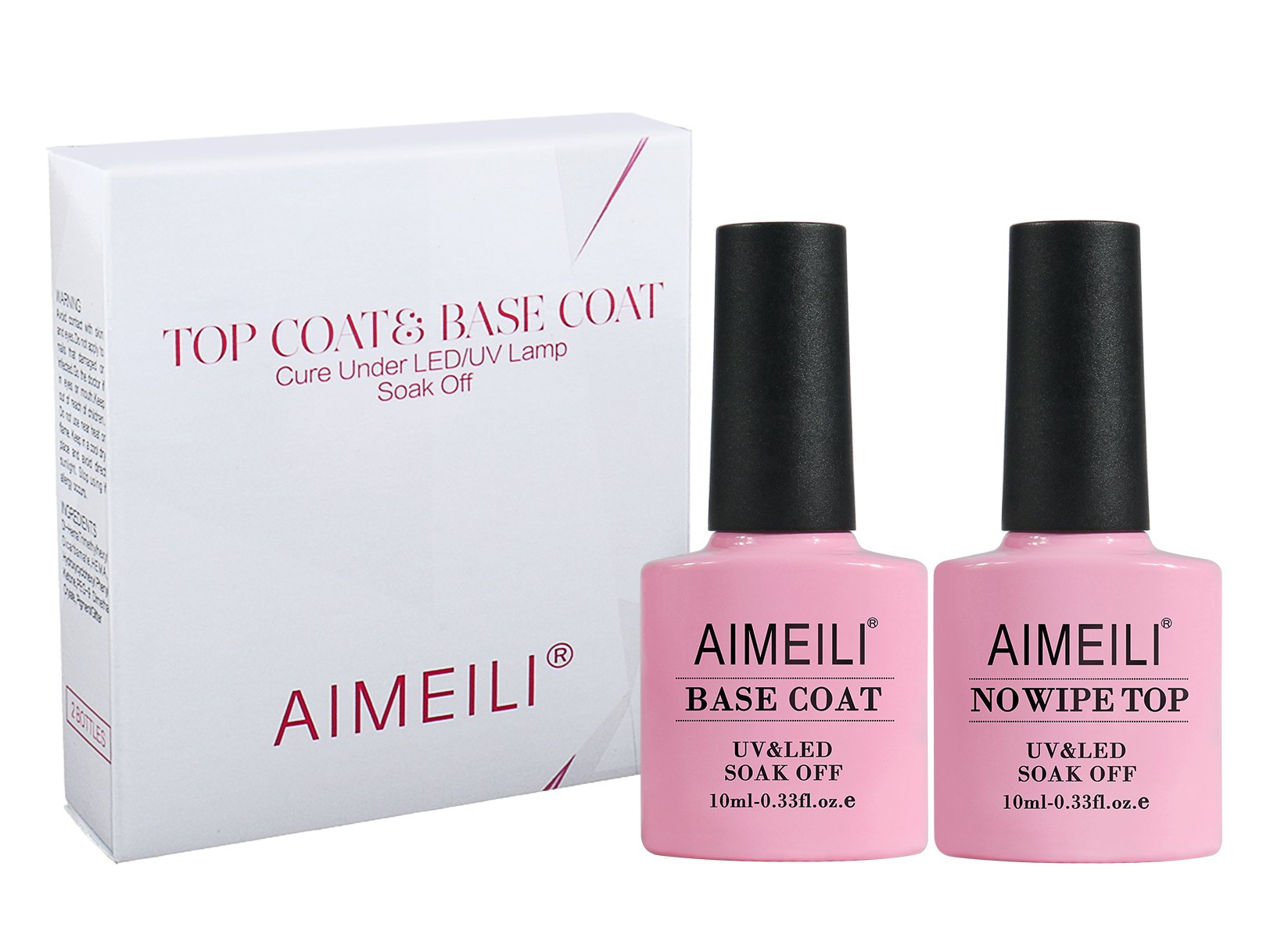 AIMEILI Gel Nail Polish No Wipe Top and Base Coat Set Soak Off UV ...