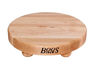 John Boos Block B12R Round Maple Wood Edge Grain Cutting Board with Feet, 12 Inches Round, 1.5 Inches Thick